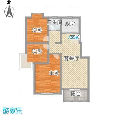 海峡・湖尚城11.00㎡小高层11#12#号楼边户D1户型3室1厅1卫1厨