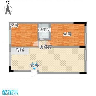 冠信香泉谷17.00㎡45#、46#城堡标准层F户型2室2厅1卫1厨