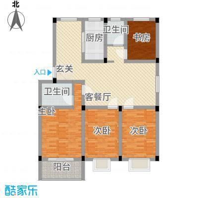碧水蓝湾138.00㎡一期标准层5户型4室2厅2卫1厨