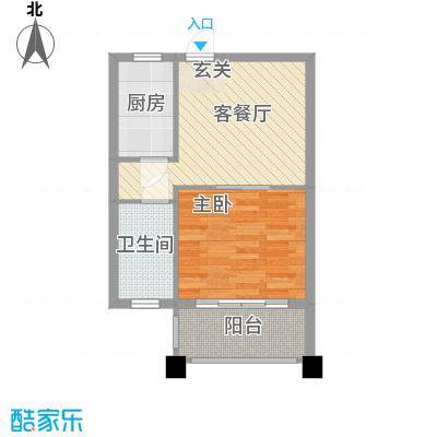 马山寨海景豪庭52.00㎡2#3#公寓O户型1室1厅1卫1厨