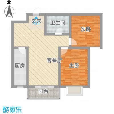 华康悦府5.82㎡2-2户型2室2厅1卫1厨