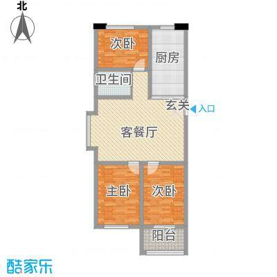 清平花园114.12㎡高层27#A户型3室1厅1卫1厨