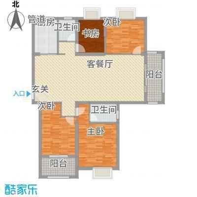 宏基天城166.00㎡7#东户G2户型2室2厅2卫1厨