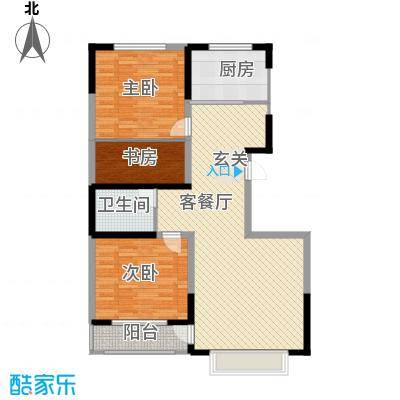 福源居124.51㎡小区一期2号楼标准层B户型3室2厅1卫1厨