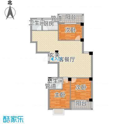 京华茗苑136.00㎡42#小高层中间套标准层J户型3室2厅2卫1厨