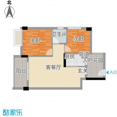 阜丰豪庭77.41㎡16栋03F1户型2室2厅1卫1厨