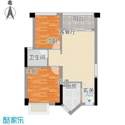 盈悦豪庭6.00㎡B型5、6、7、8栋户型2室3厅1卫1厨