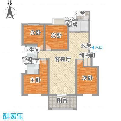 海峡・湖尚城15.00㎡h-7户型4室1厅2卫1厨