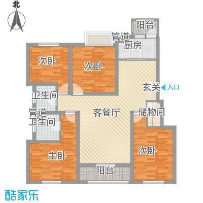 海峡・湖尚城15.00㎡h-8户型4室1厅2卫1厨