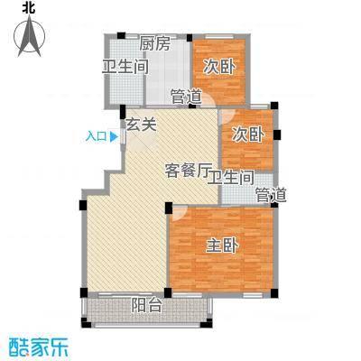 姚江公馆143.00㎡J1户型3室2厅2卫1厨