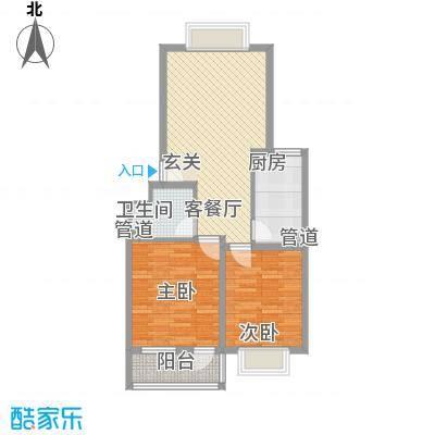华景新城77.40㎡L户型2室2厅1卫1厨