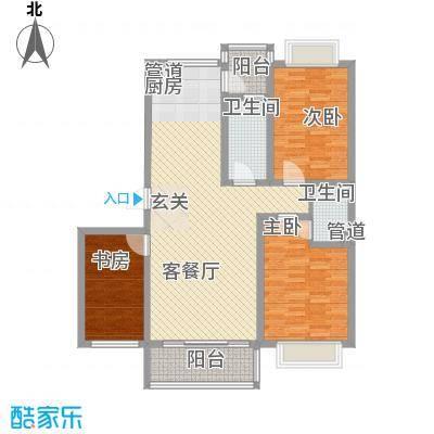 华景新城118.50㎡D户型3室2厅2卫1厨