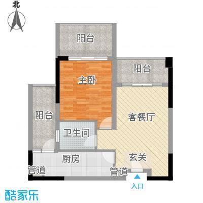惠州雅居乐白鹭湖84.60㎡迪斯卡沃II自由阳光户型1室2厅1卫1厨