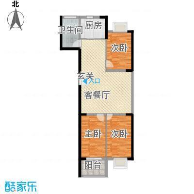 银枫家园116.00㎡二期21号楼标准层c户型3室2厅1卫1厨