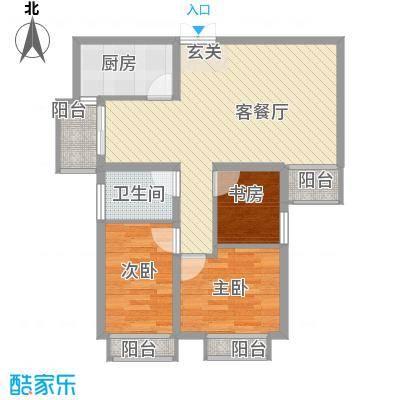 丁香园85.00㎡户型3室2厅1卫1厨