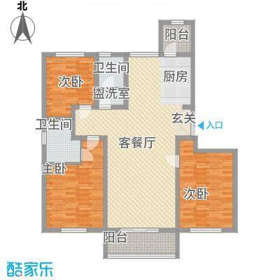 润鑫・公园壹号146.00㎡2#楼B户型3室2厅2卫1厨