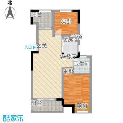 东渡海韵艺墅香颂湾85.00㎡户型2室2厅1卫1厨