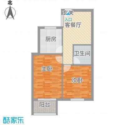 城市之星72.00㎡小高层H户型2室1厅1卫1厨