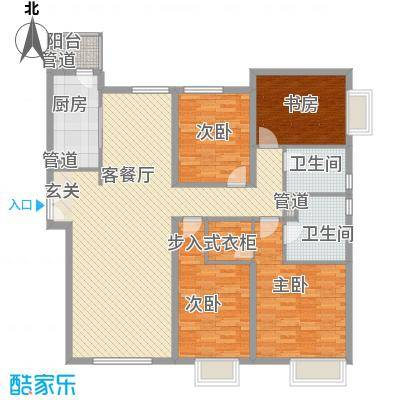 太原富力现代广场163.26㎡1#楼1单元01户型4室2厅2卫1厨