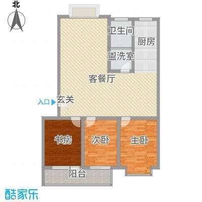 城市之星123.00㎡多层C户型3室2厅1卫1厨