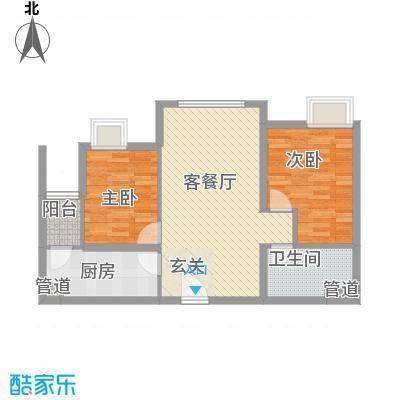太原富力现代广场87.16㎡8716户型2室2厅1卫1厨