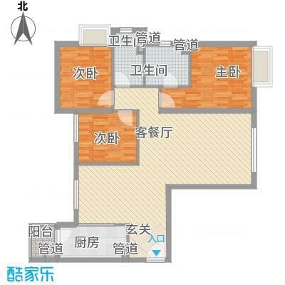 太原富力现代广场123.17㎡12317户型3室2厅2卫1厨