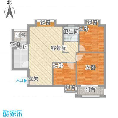 星光银河湾5.28㎡1、2、5号楼G5-A1户型3室2厅1卫1厨