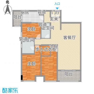 昌盛双喜城158.40㎡15#B户型3室2厅2卫