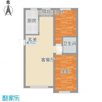 铖裕香榭湾5.76㎡C户型2室2厅1卫1厨