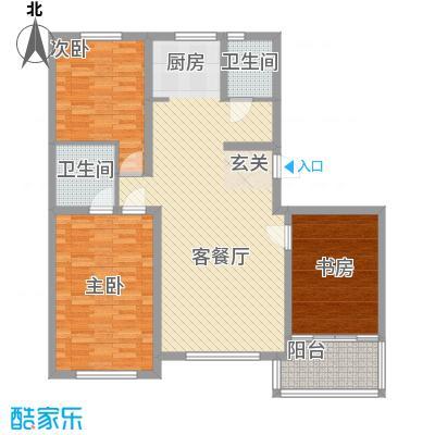 铖裕香榭湾134.50㎡F户型3室2厅2卫1厨