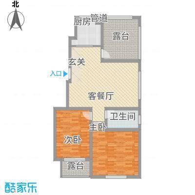 泰和名都84.41㎡一期2#、3#楼标准层C1户型2室2厅1卫1厨