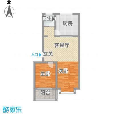 恒信御景峰81.00㎡多层标准层户型2室1厅1卫1厨