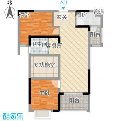 汉南天地7.50㎡3号楼3-2户型3室2厅1卫1厨