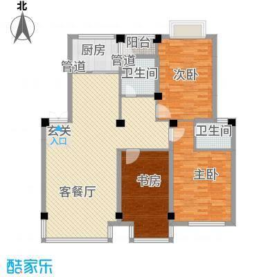 滨江花苑127.00㎡F户型3室2厅2卫