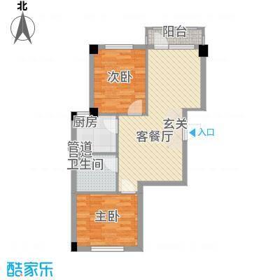 心海阳光74.00㎡2号楼F户型2室2厅1卫1厨