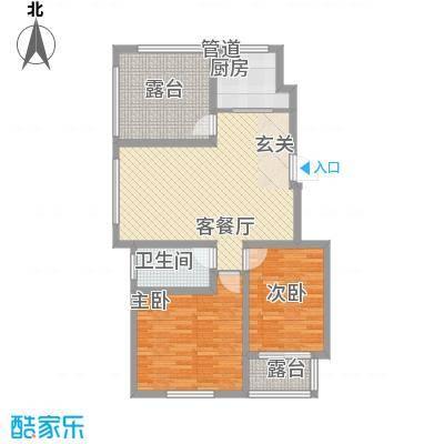 泰和名都88.10㎡一期1#楼标准层C2户型2室2厅1卫1厨