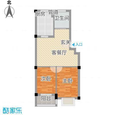 唐宁郡78.57㎡高层18号楼4户型2室2厅1卫1厨