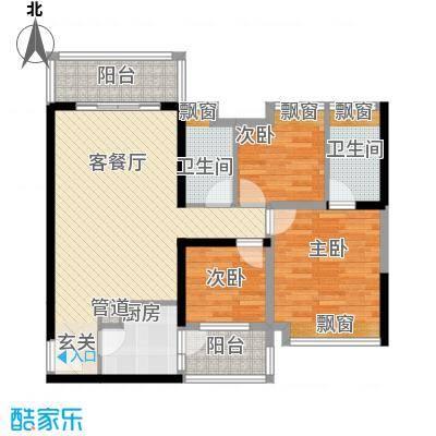 珠江・观澜御景5.00㎡1、2栋01、02户型3室2厅2卫1厨