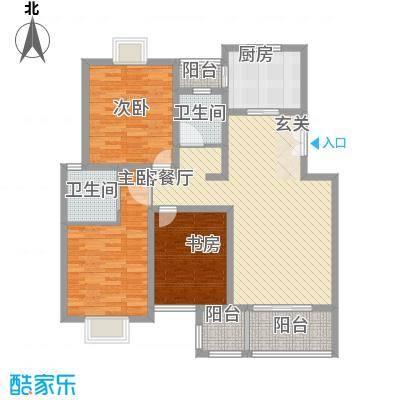 东方百合园134.00㎡幸福情义居户型3室2厅2卫1厨