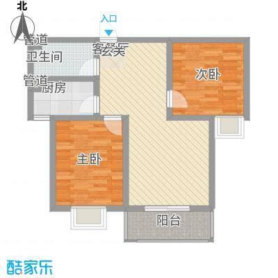 莱茵香榭86.23㎡4#楼B1户型2室2厅1卫