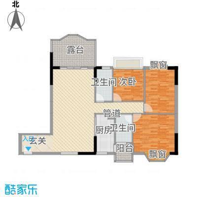 汇景中央118.48㎡B1栋07单元B2栋04单元户型3室3厅3卫1厨