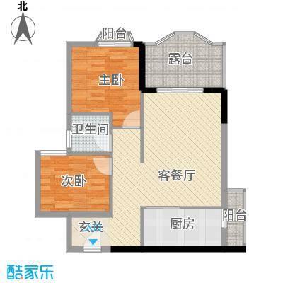 汇景中央74.10㎡A1A2栋02单元户型2室2厅1卫