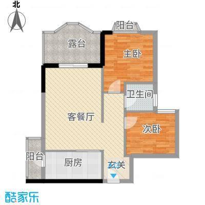 汇景中央72.14㎡A1A2栋03单元户型2室2厅1卫
