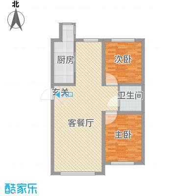 国盛东润枫景8.76㎡3户型2室2厅1卫