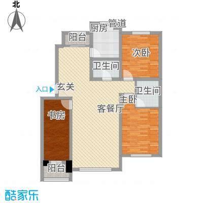 国盛东润枫景118.00㎡1户型3室1厅2卫