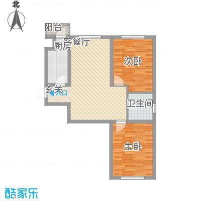 国盛东润枫景83.53㎡5户型2室2厅1卫