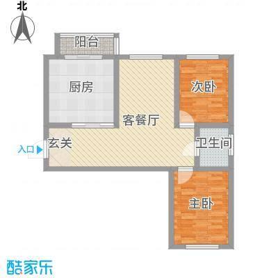 国盛东润枫景7.37㎡1户型2室2厅1卫