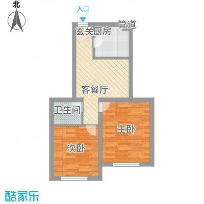 国盛东润枫景5.00㎡甲壳虫组团4户型2室1厅1卫