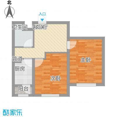 国盛东润枫景57.40㎡6户型2室1厅1卫