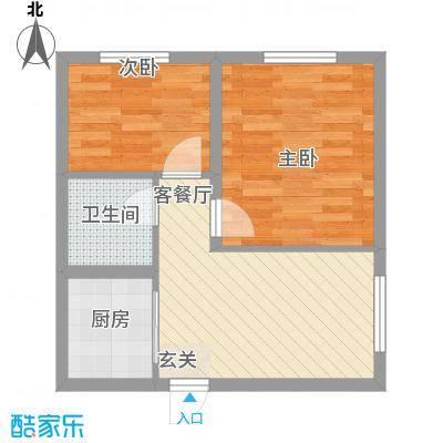 国盛东润枫景57.65㎡尚态世界户型2室2厅1卫